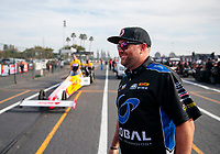 Nov 15, 2019; Pomona, CA, USA; NHRA funny car driver Shawn Langdon during qualifying for the Auto Club Finals at Auto Club Raceway at Pomona. Mandatory Credit: Mark J. Rebilas-USA TODAY Sports