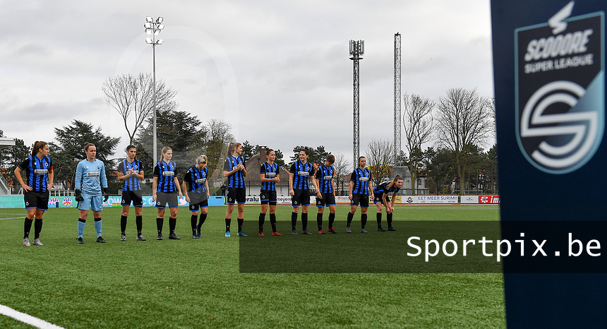Brugge's team line-up pictured during a female soccer game between Club Brugge Dames YLA and Oud Heverlee Leuven on the 8 th matchday of the 2020 - 2021 season of Belgian Scooore Womens Super League , saturday 21 th November 2020  in Knokke , Belgium . PHOTO SPORTPIX.BE | SPP | DAVID CATRY