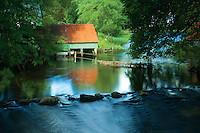 Boathouse and the source of the River Forth at Loch Ard, Loch Lomond and the Trossachs National Park, Stirlingshire