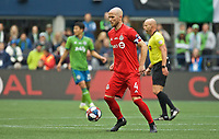 SEATTLE, WA - NOVEMBER 10: Toronto FC midfielder Michael Bradley #4 controls the ball during a game between Toronto FC and Seattle Sounders FC at CenturyLink Field on November 10, 2019 in Seattle, Washington.