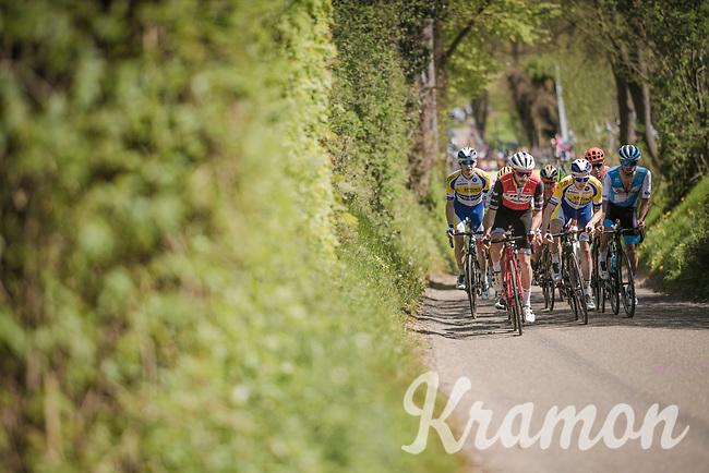 Julien Bernard (FRA/Trek-Segafredo) is the first one up the Gulpenerberg with the breakaway group<br /> <br /> 54th Amstel Gold Race 2019 (1.UWT)<br /> One day race from Maastricht to Berg en Terblijt (NED/266km)<br /> <br /> ©kramon