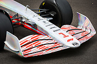 15th July 2021, Silverstone Circuit, Northampton, England;  2022 car launch, mechanical detail, front wing during the Formula 1 Pirelli British Grand Prix 2021, 10th round of the 2021 FIA Formula One World Championship