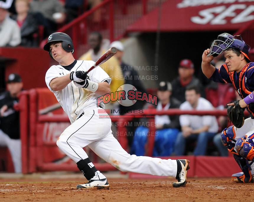Shortstop/infielder Joey Pankake (9) of the South Carolina Gamecocks in a game against the Clemson Tigers on March 3, 2012, at Carolina Stadium in Columbia, South Carolina. South Carolina won, 9-6. (Tom Priddy/Four Seam Images)