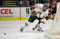 10 January 2009: University of Vermont Catamount defenseman Patrick Cullity, a Junior from Tewsbury, MA, in action against the Boston College Eagles during the second game of a weekend series at Gutterson Fieldhouse in Burlington, Vermont. The Catamounts rallied from an early 2-0 deficit to defeat the visiting Eagles 4-2. Mandatory Photo Credit: Ed Wolfstein Photo