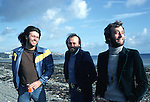Bee Gees 1976 Barry Gibb, Maurice Gibb and Ribin Gibb on the Isle Of Man.© Chris Walter.