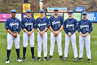 Asheville Tourists starting pitchers (L-R) Alfredo Garcia (26), Ryan Rolison (18), Ryan Feltner (14), Riley Pint (27), Shelby Lackey (10) and Nick Bush (29) during media day at McCormick Field on April 2, 2019 in Asheville, North Carolina. (Tony Farlow/Four Seam Images)