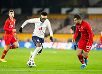 13th October 2020; Molineux Stadium, Wolverhampton, West Midlands, England; UEFA Under 21 European Championship Qualifiers, Group Three, England Under 21 versus Turkey Under 21; Callum Hudson Odoi of England with the ball at his feet takes on Cemali Sertel of Turkey