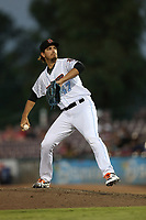 Nathan Bates (47) of the Inland Empire 66ers pitches against the Rancho Cucamonga Quakes at San Manuel Stadium on July 29, 2017 in San Bernardino, California. Inland Empire defeated Rancho Cucamonga, 6-4. (Larry Goren/Four Seam Images)