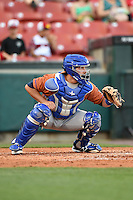 Durham Bulls catcher Ali Solis (44) during a game against the Buffalo Bisons on July 10, 2014 at Coca-Cola Field in Buffalo, New  York.  Durham defeated Buffalo 3-2.  (Mike Janes/Four Seam Images)