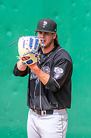 Lansing Lugnuts pitcher Maverik Buffo (44) warms up in the bullpen prior to a Midwest League game against the Wisconsin Timber Rattlers on May 8, 2018 at Fox Cities Stadium in Appleton, Wisconsin. Lansing defeated Wisconsin 11-4. (Brad Krause/Four Seam Images)