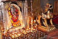 Bodhnath, Nepal.  Shrine to the Goddess Ajima, or Hariti, Goddess of Smallpox and Other  Diseases.