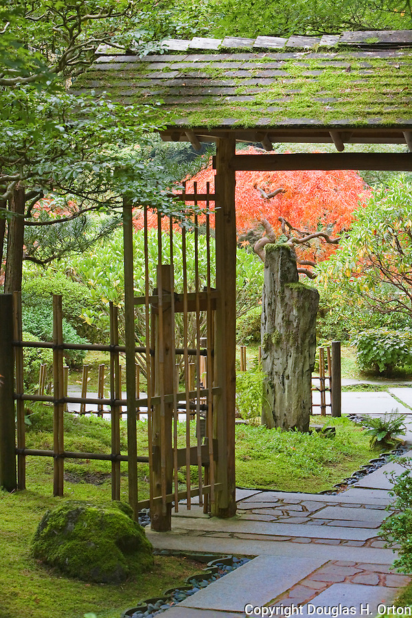 Tea Garden Gate, Portland, Oregon, Japanese Garden.  The Japanese Garden in Portland is a 5.5 acre respit.  Said to be one of the most authentic Japanese Garden's outside of Japan, the rolling terrain and water features symbolize both peace and strength.