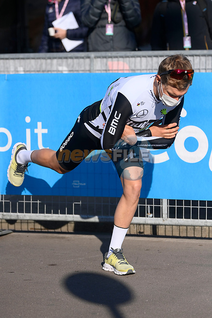 Team Qhubeka Assos at sign on before the start of the 112th edition of Milan-San Remo 2021, running 299km from Milan to San Remo, Italy. 20th March 2021. <br /> Photo: LaPresse/Fabio Ferrari | Cyclefile<br /> <br /> All photos usage must carry mandatory copyright credit (© Cyclefile | LaPresse/Fabio Ferrari)
