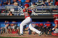 Batavia Muckdogs catcher Roy Morales (34) at bat during a game against the Williamsport Crosscutters on July 15, 2015 at Dwyer Stadium in Batavia, New York.  Williamsport defeated Batavia 6-5.  (Mike Janes/Four Seam Images)