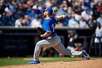 Toronto Blue Jays relief pitcher Danny Barnes (24) delivers a pitch during a Grapefruit League Spring Training game against the New York Yankees on February 25, 2019 at George M. Steinbrenner Field in Tampa, Florida.  Yankees defeated the Blue Jays 3-0.  (Mike Janes/Four Seam Images)