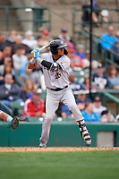Charlotte Knights Joel Booker (26) bats during an International League game against the Rochester Red Wings on June 16, 2019 at Frontier Field in Rochester, New York.  Rochester defeated Charlotte 3-2 in the second game of a doubleheader.  (Mike Janes/Four Seam Images)