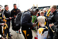 Photo: Richard Lane/Richard Lane Photography. Wasps v Leicester Tigers. Aviva Premiership. 12/03/2016. Wasps' Christian Wade signs autographs for supporters.