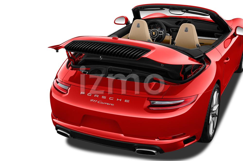 Car Stock 2018 Porsche 911 Carrera 2 Door Convertible Engine  high angle detail view