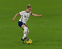 ORLANDO CITY, FL - FEBRUARY 18: Emily Sonnett #14 cuts the ball during a game between Canada and USWNT at Exploria stadium on February 18, 2021 in Orlando City, Florida.