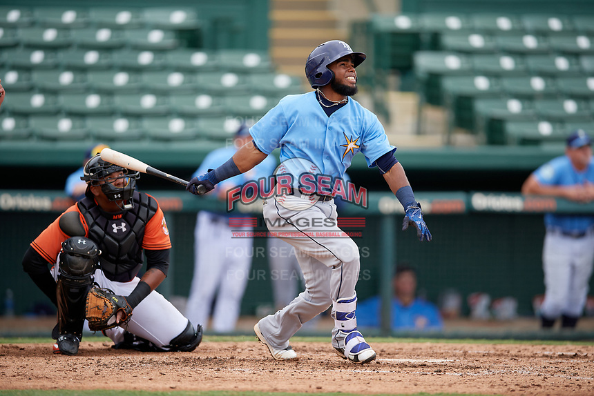 Tampa Bay Rays Luis Rengifo (54) hits a home run during an Instructional League game against the Baltimore Orioles on October 5, 2017 at Ed Smith Stadium in Sarasota, Florida.  (Mike Janes/Four Seam Images)
