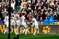 Saturday 19 October 2013 Pictured: Jonathan de Guzman ( Left) celebrates his goal<br /> Re: Barclays Premier League Swansea City vSunderland at the Liberty Stadium, Swansea, Wales