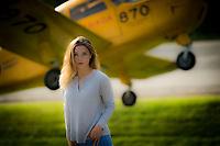 Vanessa Marion, daughter of boat racer Steve Armstrong, models in Brockville, Ontario.