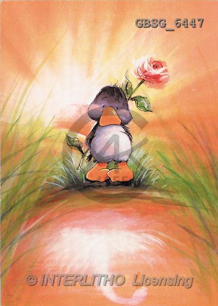 Ron, CUTE ANIMALS, Quacker, paintings, duck, rose(GBSG6447,#AC#) Enten, patos, illustrations, pinturas