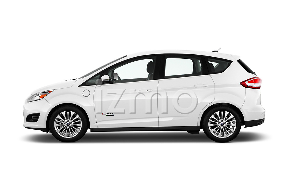 Car Driver side profile view of a 2017 Ford C-Max Energi-Titanium 5 Door Mini MPV Side View