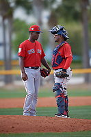 Boston Red Sox pitcher Joan Martinez (61) talks with catcher Roldani Baldwin (49) during a Minor League Spring Training game against the Tampa Bay Rays on March 25, 2019 at the Charlotte County Sports Complex in Port Charlotte, Florida.  (Mike Janes/Four Seam Images)