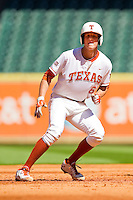 Erich Weiss #6 of the Texas Longhorns rounds second base after hitting a double against the Arkansas Razorbacks at Minute Maid Park on March 4, 2012 in Houston, Texas.  The Razorbacks defeated the Longhorns 7-3.  Brian Westerholt / Four Seam Images