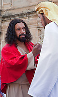 The Rich Man Asks Jesus what he must do to have Eternal Life.  (Luke 18: 18-24; Matthew 19:20.)  Palm Sunday Re-enactment of events in the life of Jesus, by the group called Luna LLena (Full Moon), a group of volunteers in Antigua, Guatemala.  Jesus played by Rodrigo Gaytan.