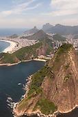 Rio de Janeiro, Brazil. Aerial view looking west; Sugar Loaf, Leme, Copacabana, Dois Irmaos.