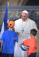 Pope Francis  the  meeting with members of the Italian Sports Centre C.S.I. in St.Peter's Square at the Vatican.  June 7, 2014