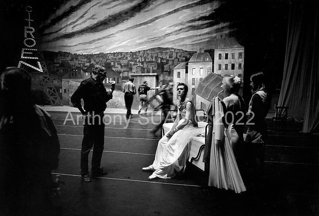 "St. Petersburg, Russia  .1998.Ballet dancer Ylyana Lopatkina relaxes on stage during a dress rehearsal of ""The Young Man and Death"" a production by Francois Andrei at the Mariinsky Theater.."