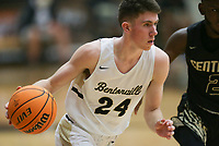 Bentonville guard Owen Dehrmann (24) dribbles, Saturday, November 14, 2020 during a basketball game at Bentonville High School in Bentonville. Check out nwaonline.com/201115Daily/ for today's photo gallery. <br /> (NWA Democrat-Gazette/Charlie Kaijo)