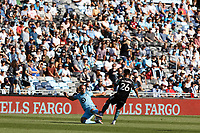 ST PAUL, MN - AUGUST 14: Chase Gasper #77 of Minnesota United FC and Efraín Alvarez #26 of the Los Angeles Galaxy battle for the ball during a game between Los Angeles Galaxy and Minnesota United FC at Allianz Field on August 14, 2021 in St Paul, Minnesota.