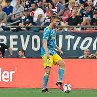 FOXBOROUGH, MA - AUGUST 8: Stuart Findlay #4 of Philadelphia Union looks to pass during a game between Philadelphia Union and New England Revolution at Gillette Stadium on August 8, 2021 in Foxborough, Massachusetts.