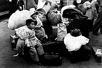 Undated file photo circa Dec 1942 - <br /> Japanese American children awaiting evacuation  in USA, after Japan attack on Pearl Harbour.