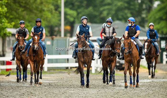 June 4, 2021:  Horses gallop in preparation for the Belmont Stakes at Belmont Park in Elmont, New York on June 4, 2021. Evers/Eclipse Sportswire/CSM