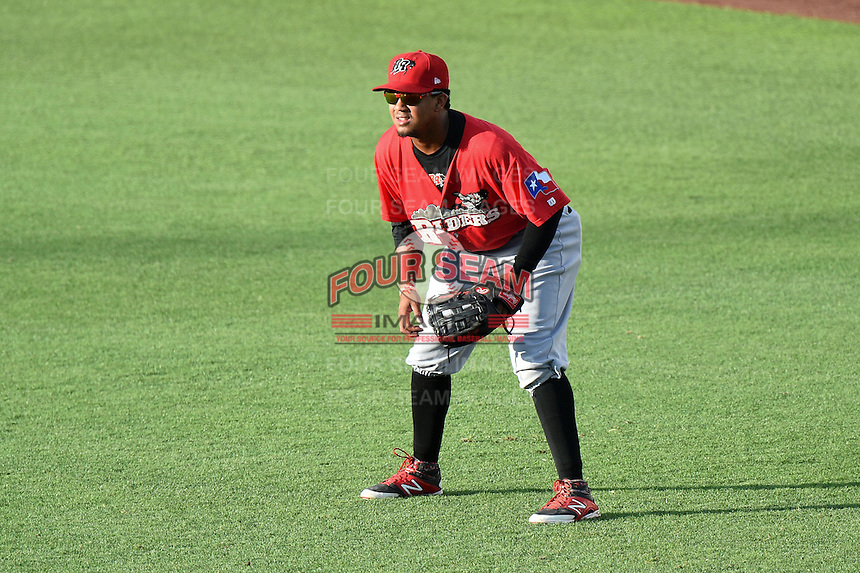 Frisco Rough Riders outfielder Teodoro Martinez (28) during a game against the Springfield Cardinals on June 1, 2014 at Hammons Field in Springfield, Missouri.  Springfield defeated Frisco 3-2.  (Mike Janes/Four Seam Images)