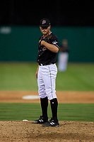 Batavia Muckdogs relief pitcher Evan Brabrand (41) during a NY-Penn League game against the West Virginia Black Bears on June 26, 2019 at Dwyer Stadium in Batavia, New York.  Batavia defeated West Virginia 4-2.  (Mike Janes/Four Seam Images)