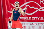 Wang Qiang of China competes against Zhang Ling of Hong Kong during the singles first round match at the WTA Prudential Hong Kong Tennis Open 2018 at the Victoria Park Tennis Stadium on 09 October 2018 in Hong Kong, Hong Kong.