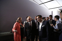 Pictured: Vladimir Putin and Alexis Tsipras are shown around the museum Friday 27 May 2016<br /> Re: Russian President Vladimir Putin with Greek Prime Minister Alexis Tsipras at the exhibition opening 'Ascension of the Christ' at the Byzantine Museum, Athens, Greece