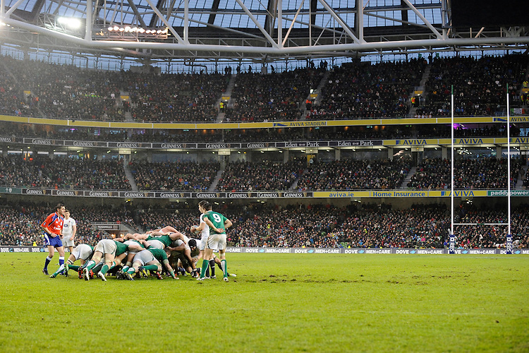 General view of a scrum during the RBS 6 Nations match between Ireland and England at the Aviva Stadium, Dublin on Sunday 10 February 2013 (Photo by Rob Munro)
