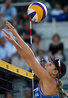 Jennifer Kessy, of the United States, in action during the women's final match between Brazil and United States at the Beach Volleyball World Tour Grand Slam, Foro Italico, Rome, 23 June 2013. Brazil defeated United States 2-1.<br /> UPDATE IMAGES PRESS/Isabella Bonotto