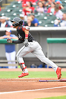 Birmingham Barons shortstop Laz Rivera (5) runs to first base during a game against the Tennessee Smokies at Smokies Stadium on May 15, 2019 in Kodak, Tennessee. The Smokies defeated the Barons 7-3. (Tony Farlow/Four Seam Images)