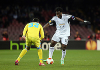 Thursday 27 February 2014<br /> Pictured: Wilfried Bony of Swansea (R) against Raul Albiol o Napoli (L)<br /> Re: UEFA Europa League, SSC Napoli v Swansea City FC at Stadio San Paolo, Naples, Italy.