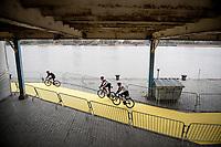 UAE - Team Emirates off to the team presentation at the race start in Antwerpen<br /> <br /> 105th Ronde van Vlaanderen 2021 (MEN1.UWT)<br /> <br /> 1 day race from Antwerp to Oudenaarde (BEL/264km) <br /> <br /> ©kramon