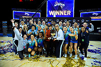 Northern Mystics celebrate winning the ANZ Premiership netball final between Northern Mystics and Mainland Tactix at Spark Arena in Auckland, New Zealand on Sunday, 8 August 2021. Photo: Dave Lintott / lintottphoto.co.nz