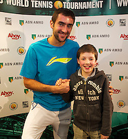 Rotterdam, The Netherlands. 15.02.2014. Meet and greet with Marin Cilic(KRO) at the ABN AMRO World tennis Tournament<br /> Photo:Tennisimages/Henk Koster